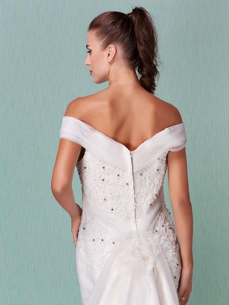 Mermaid \ Trumpet Wedding Dresses Off Shoulder Chapel Train Organza Short Sleeve_10