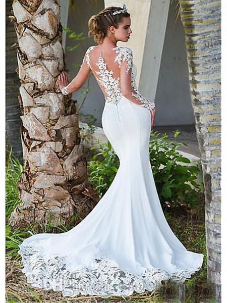 Mermaid \ Trumpet Wedding Dresses Jewel Neck Court Train Lace Long Sleeve Formal Casual Vintage Illusion Sleeve_1