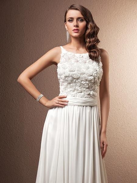 A-Line Wedding Dresses Scoop Neck Sweep \ Brush Train Chiffon Spaghetti Strap Formal_3