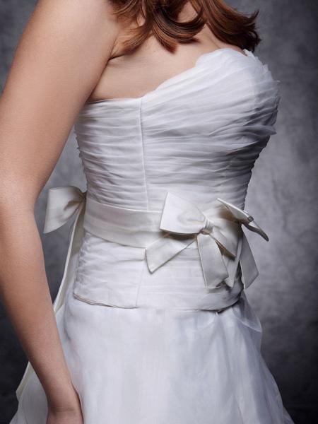 Princess A-Line Wedding Dresses Strapless Sweetheart Neckline Court Train Organza Satin Sleeveless_4