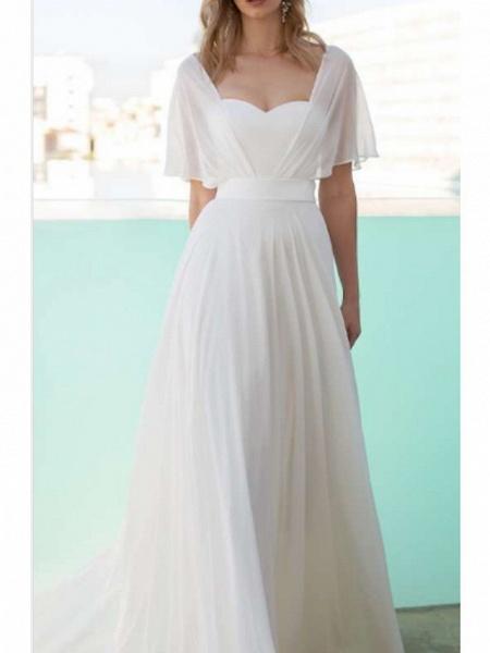 A-Line Wedding Dresses Scoop Neck Floor Length Chiffon Charmeuse Short Sleeve_1