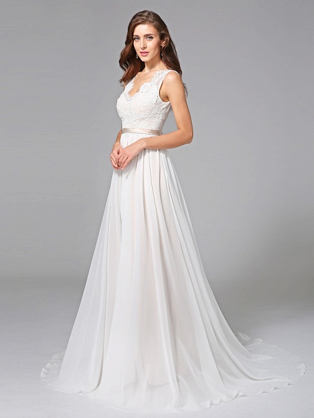 A-Line Wedding Dresses V Neck Court Train Chiffon Lace Regular Straps Romantic See-Through Plus Size Backless_5