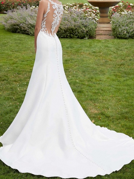 A-Line Wedding Dresses Jewel Neck Court Train Lace Satin Sleeveless Simple Sexy_3