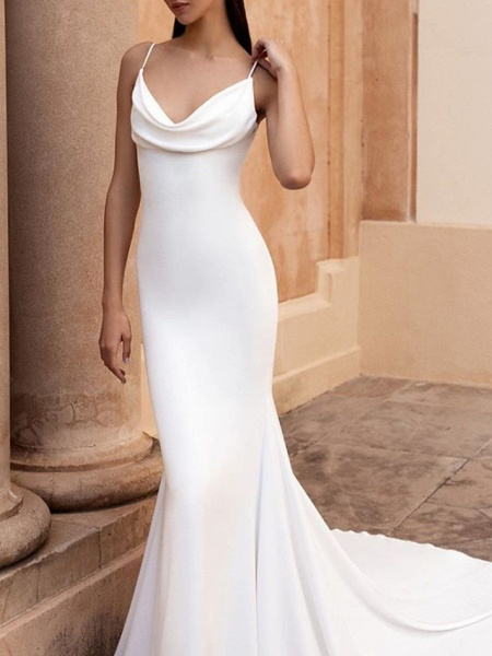 Mermaid \ Trumpet Wedding Dresses Spaghetti Strap Sweep \ Brush Train Stretch Satin Sleeveless Simple Backless_3