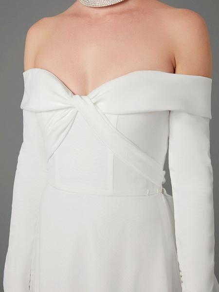 A-Line Wedding Dresses Off Shoulder Chapel Train Chiffon Tulle Long Sleeve Sexy_11