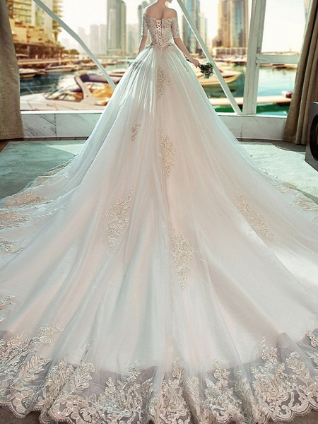 Ball Gown Wedding Dresses Off Shoulder Sweep \ Brush Train Lace Short Sleeve Beach_2