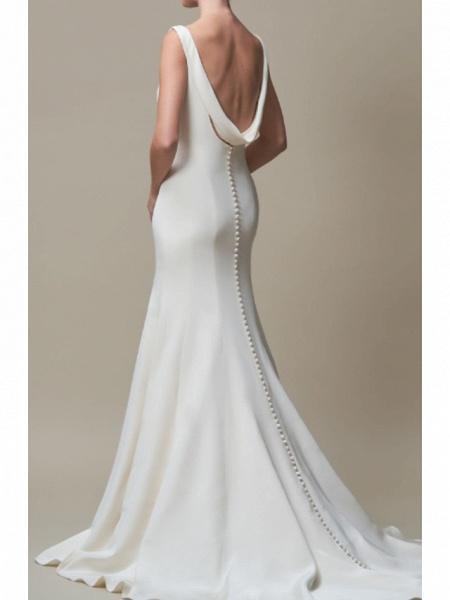 Mermaid \ Trumpet Wedding Dresses Jewel Neck Court Train Stretch Satin Regular Straps Elegant_2