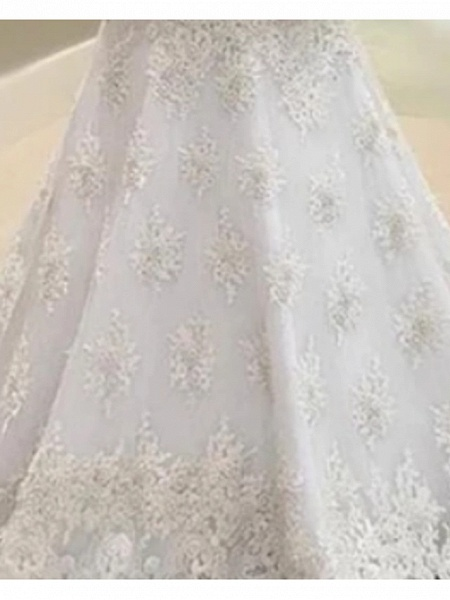 A-Line V Neck Court Train Lace Tulle Charmeuse Long Sleeve Formal Plus Size Illusion Sleeve Wedding Dresses_2