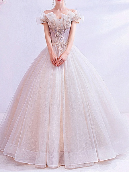 Ball Gown Wedding Dresses Off Shoulder Sweep \ Brush Train Chiffon Tulle Short Sleeve Country Illusion Detail Plus Size_1