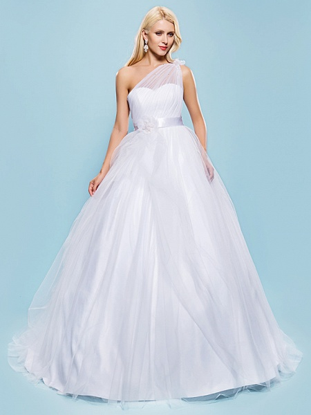 Ball Gown Wedding Dresses One Shoulder Court Train Tulle Sleeveless_1