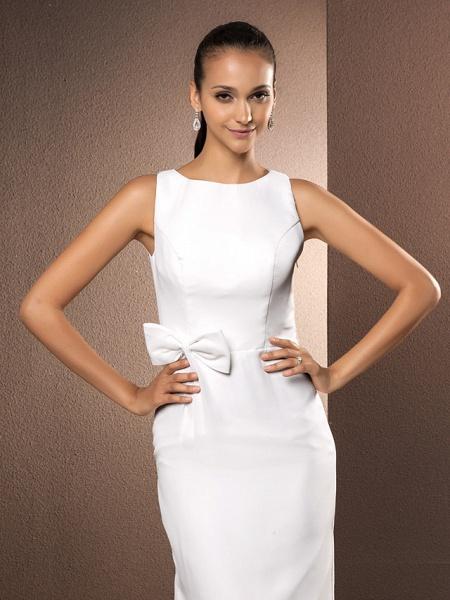 Sheath \ Column Wedding Dresses Bateau Neck Floor Length Chiffon Sleeveless_5