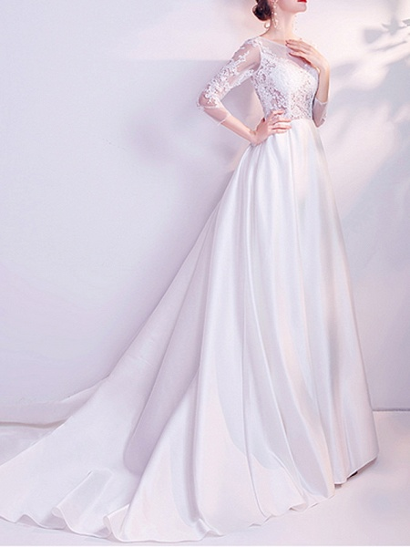 A-Line Wedding Dresses Jewel Neck Court Train Chiffon Tulle 3\4 Length Sleeve Formal Plus Size Illusion Sleeve_1