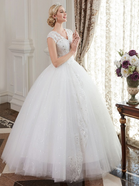 Ball Gown Wedding Dresses V Neck Floor Length Satin Lace Over Tulle Cap Sleeve Romantic Illusion Detail_5