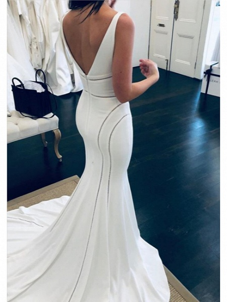 Mermaid \ Trumpet Wedding Dresses V Neck Court Train Satin Regular Straps Formal Plus Size_2