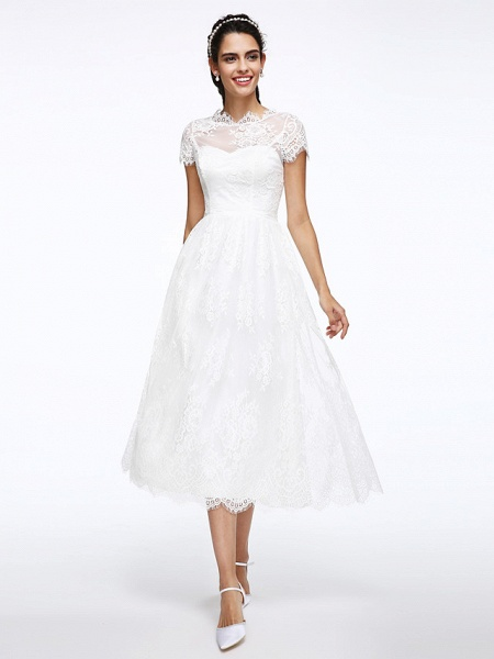 A-Line Wedding Dresses Jewel Neck Tea Length Lace Short Sleeve Simple Casual Illusion Detail Backless_3