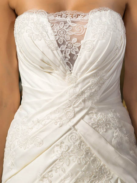 A-Line Wedding Dresses Strapless Court Train Satin Sleeveless_7