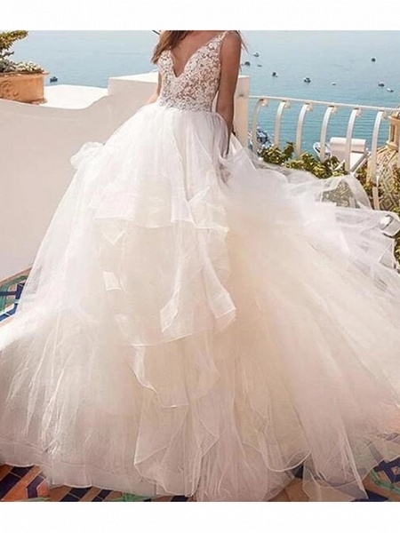 Ball Gown Wedding Dresses V Neck Sweep \ Brush Train Lace Tulle Sleeveless Country Sexy See-Through_1