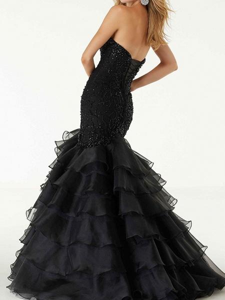 Mermaid \ Trumpet Wedding Dresses Sweetheart Neckline Sweep \ Brush Train Polyester Sleeveless Country Plus Size Black_2