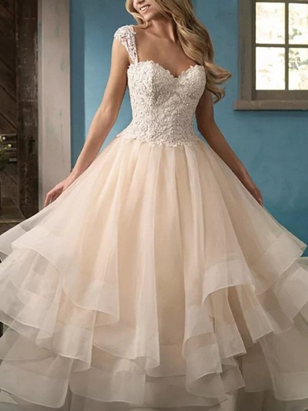 Ball Gown Wedding Dresses Sweetheart Neckline Court Train Lace Satin Tulle Sleeveless Formal_3