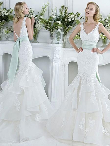 Mermaid \ Trumpet Wedding Dresses V Neck Court Train Lace Tulle Sleeveless Sexy Plus Size_1