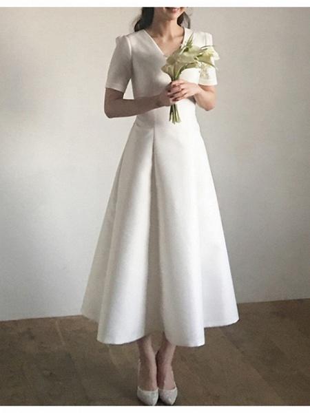 A-Line Wedding Dresses V Neck Sweep \ Brush Train Satin Short Sleeve Cap Sleeve Formal Simple Vintage Plus Size 1950s_1