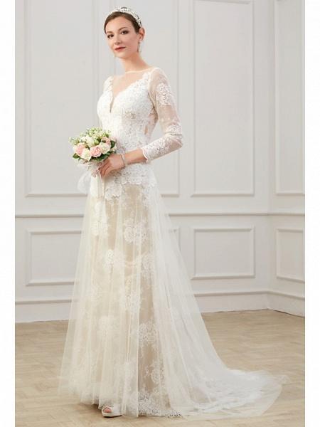 Sheath \ Column Wedding Dresses Jewel Neck Sweep \ Brush Train Lace Tulle Long Sleeve Formal Boho Plus Size Illusion Sleeve_4