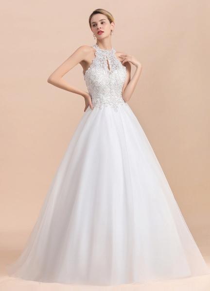 Halter Lace Appliques A-line Sleeveless Wedding Dress_8