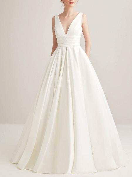 A-Line Wedding Dresses V Neck Court Train Satin Regular Straps_1