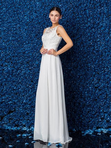 Sheath \ Column Elegant Prom Formal Evening Dress Illusion Neck Sleeveless Floor Length Chiffon Lace_4