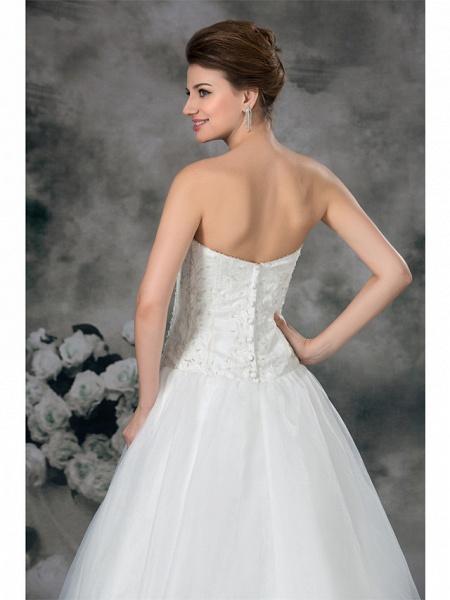 A-Line Sweetheart Neckline Court Train Organza Satin Strapless Plus Size Wedding Dresses_6