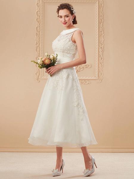A-Line Wedding Dresses Bateau Neck Tea Length Organza Floral Lace Regular Straps Formal Casual Illusion Detail_13