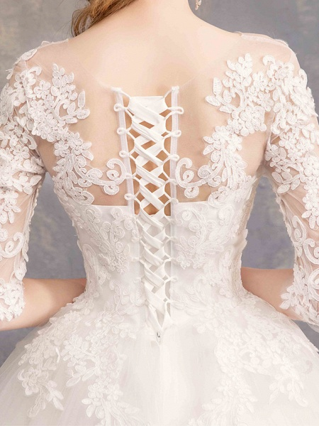 Ball Gown Wedding Dresses Bateau Neck Maxi Lace Tulle Half Sleeve Glamorous Illusion Sleeve_6
