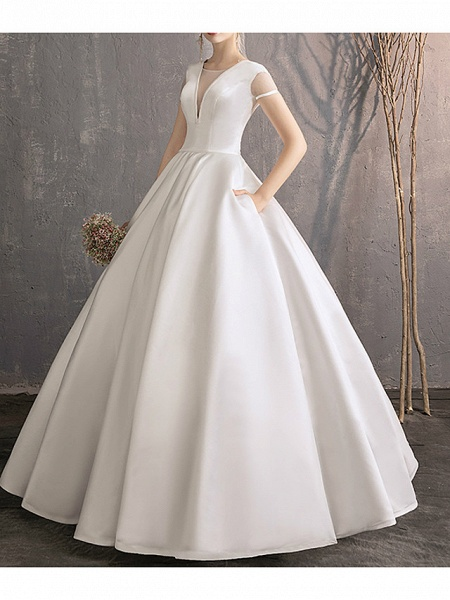 Ball Gown Wedding Dresses Jewel Neck Floor Length Satin Tulle Short Sleeve Simple Plus Size Elegant_3
