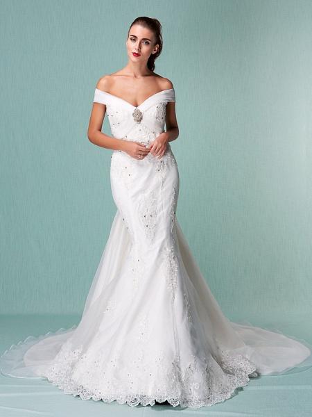 Mermaid \ Trumpet Wedding Dresses Off Shoulder Chapel Train Organza Short Sleeve_2