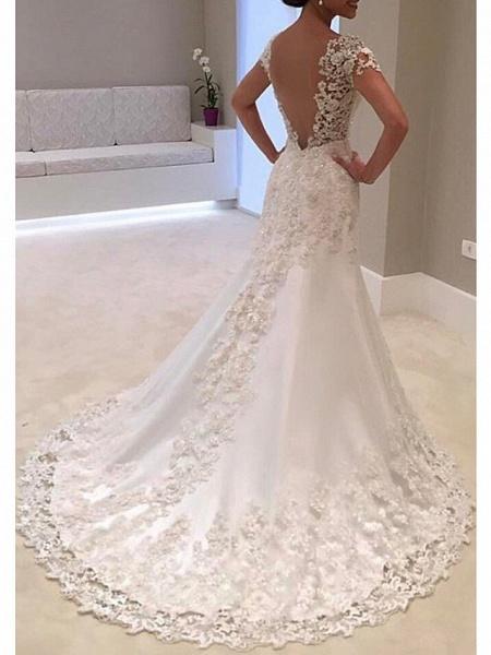 A-Line Wedding Dresses V Neck Sweep \ Brush Train Tulle Regular Straps_3