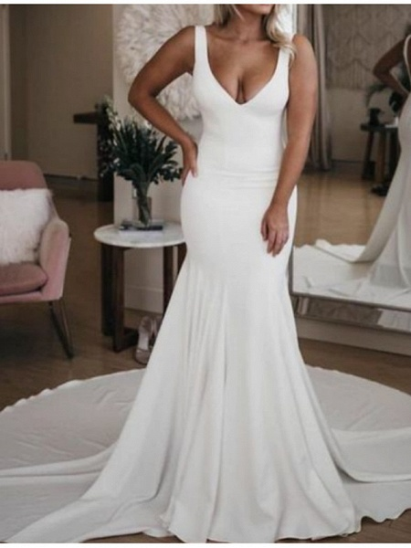 Mermaid \ Trumpet Wedding Dresses Plunging Neck Court Train Stretch Satin Sleeveless Sexy Plus Size_1
