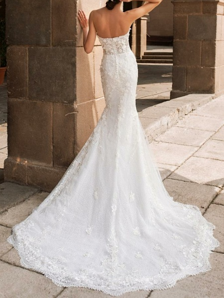 Mermaid \ Trumpet Wedding Dresses Sweetheart Neckline Court Train Lace Strapless Mordern Sparkle & Shine_2
