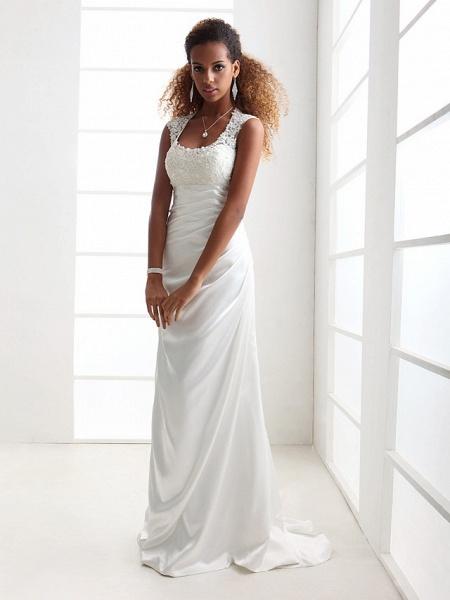 Sheath \ Column Wedding Dresses Scoop Neck Sweep \ Brush Train Charmeuse Beaded Lace Cap Sleeve Simple Backless_1