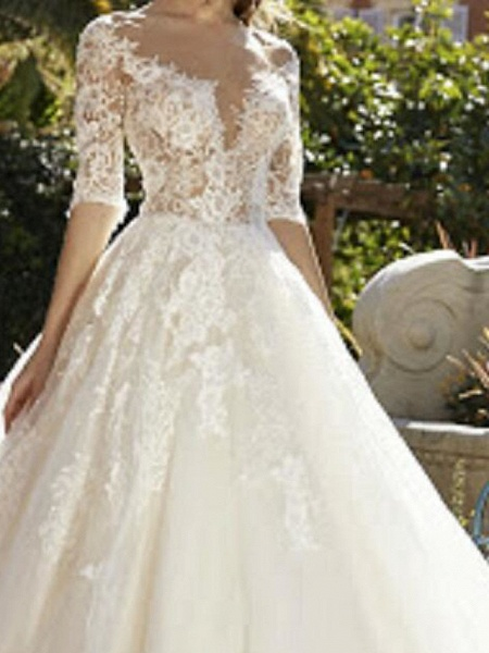 Ball Gown V Neck Sweep \ Brush Train Tulle Polyester Half Sleeve Country Plus Size Wedding Dresses_2