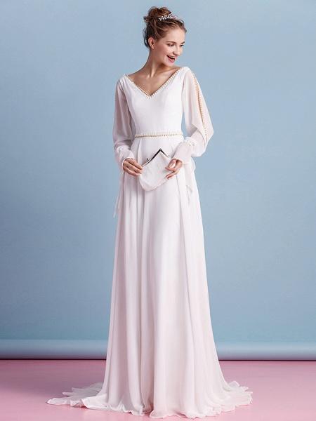 Sheath \ Column Wedding Dresses V Neck Court Train Chiffon Long Sleeve_4