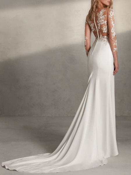 Mermaid \ Trumpet Wedding Dresses Jewel Neck Sweep \ Brush Train Lace Tulle Stretch Satin Long Sleeve Sexy See-Through_2