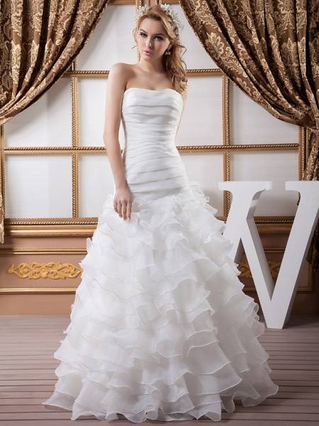 A-Line Strapless Floor Length Organza Satin Strapless Wedding Dresses_1