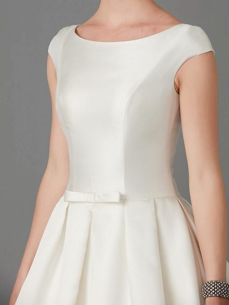 Princess Wedding Dresses Bateau Neck Court Train Satin Short Sleeve_9