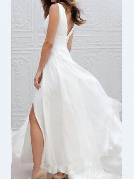 A-Line Wedding Dresses Plunging Neck Sweep \ Brush Train Chiffon Taffeta Stretch Satin Sleeveless Country Plus Size_2