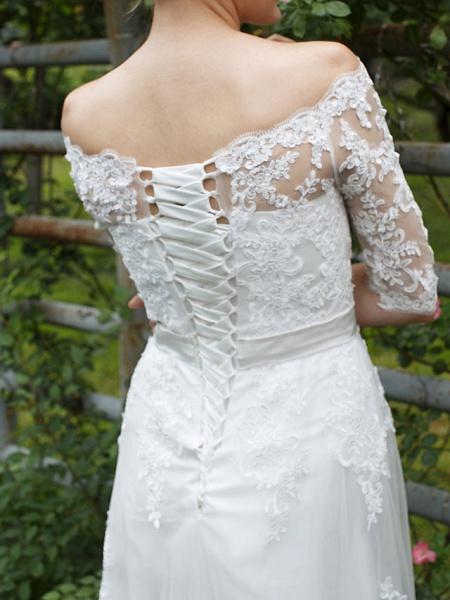 Princess A-Line Wedding Dresses Off Shoulder Floor Length Lace Tulle Half Sleeve Floral Lace_9