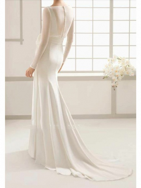 Sheath \ Column Wedding Dresses Bateau Neck Sweep \ Brush Train Floor Length Satin Tulle Long Sleeve Simple Elegant_2