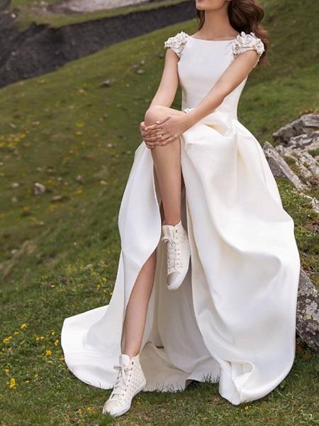 A-Line Wedding Dresses Jewel Neck Sweep \ Brush Train Satin Cap Sleeve Country Plus Size_2