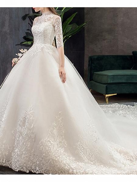 A-Line Wedding Dresses Jewel Neck Sweep \ Brush Train Lace Half Sleeve Casual Plus Size Illusion Sleeve_2
