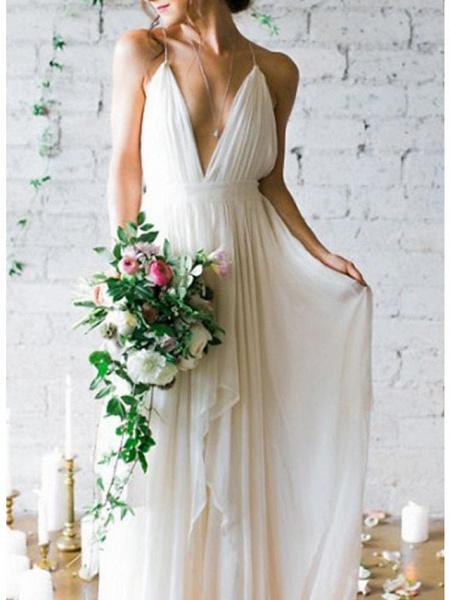 A-Line Wedding Dresses V Neck Spaghetti Strap Sweep \ Brush Train Chiffon Sleeveless Simple Beach Backless_3