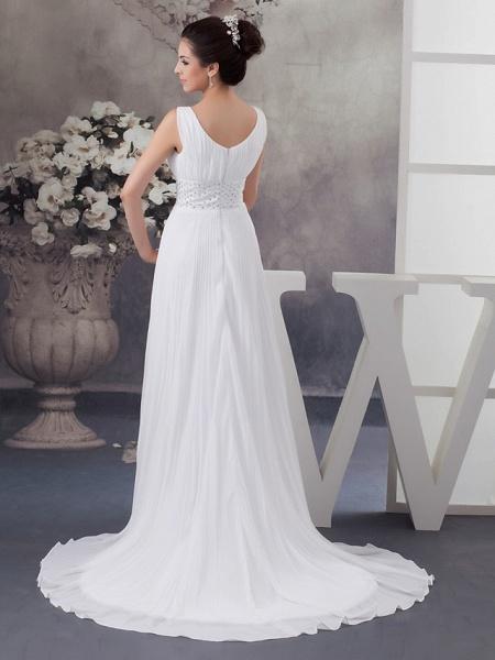 A-Line Wedding Dresses V Neck Chapel Train Chiffon Satin Regular Straps_4